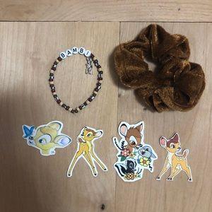 Disney's Bambi bracelet sticker scrunchie set
